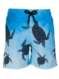 Blue 3D Turtle Football Swim Shorts