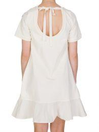 Cream Zip Side Detail Ruffle Dress