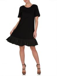 Black Zip Side Detail Ruffle Dress