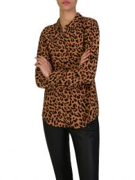 Brown Kathryn Jaguar Print Shirt