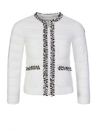 White Hiva Trim Down Filled Puffer Jacket