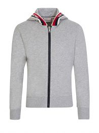 Grey Logo Zip-Through Hoodie