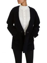 Navy Sheepskin Jacket