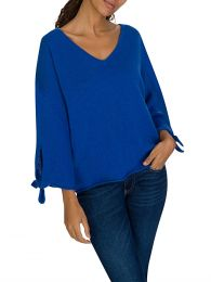 Blue Tie Sleeve Jumper