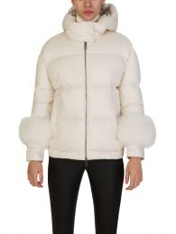 Cream Fraie Fox Fur Cuff Puffa Jacket