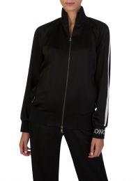 Black Silk Zip Bomber Jacket
