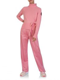 Pink Side-Tie Turtleneck Jumper