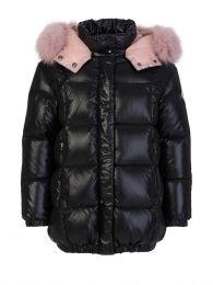 Black Parana Fur Hooded Jacket