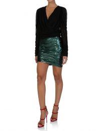 Glow Green Laminated-Effect Mini Skirt