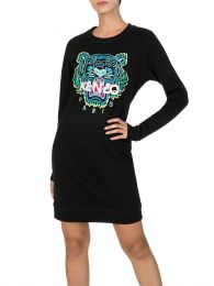 Black Long-Sleeve Tiger Sweatshirt Dress