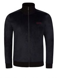 Black Cotton-Blend Velvet Track Jacket