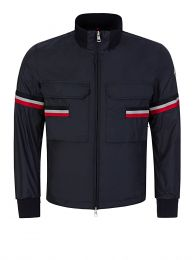 Navy Seine Stripe Windbreaker Jacket