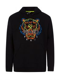 Black Neon Tiger Embroidered Hoodie