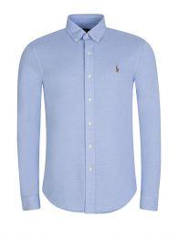 Blue Long Sleeve Knit Oxford Shirt