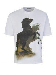 White Horse-Print T-Shirt