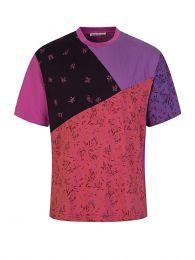 Pink Floral-Print Patchwork T-Shirt