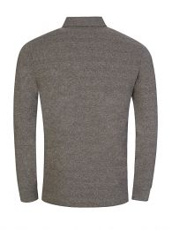 Grey Long-Sleeve Polo Shirt