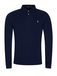 Blue Custom Slim Long-Sleeve Polo