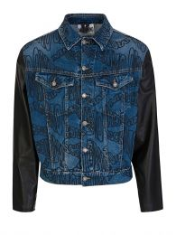 Blue Warped Logo Denim Jacket