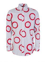 White Circle Stripe Shirt