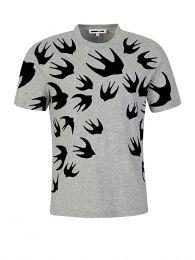 Grey Dropped Shoulder Swallow T-Shirt