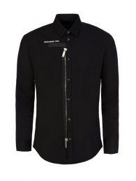 Black Poplin Zipper Shirt