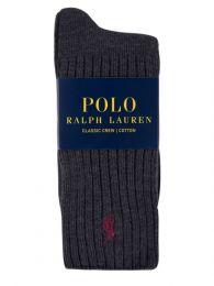 Charcoal Polo Player Ribbed Socks