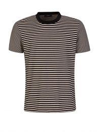 Beige Striped Jersey T-Shirt