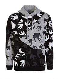 Black/Grey Swallows Print Hoodie