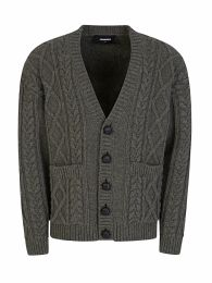 Green Cable-Knit Cardigan