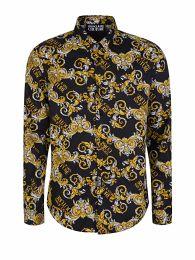 Black Slim-Fit All-Over Print Shirt
