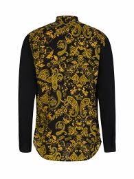Black Slim-Fit Baroque Collar Shirt
