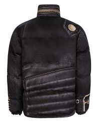 Black Oversized Zip Printed Puffer Jacket