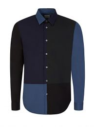 Navy Slim Fit Patchwork Shirt