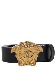 Black Junior Faux Leather Medusa Belt