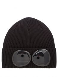 Black Knitted Goggle Beanie Hat