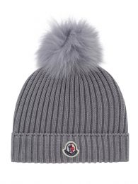 Grey Wool Bobble Hat