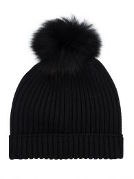 Black Pompom Bobble Hat