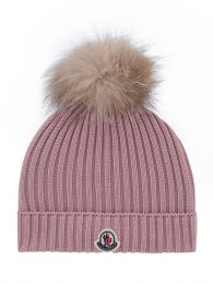 Pink Wool Bobble Hat