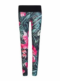 Black Floral Print Active Leggings
