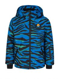 Blue Tiger Print Ski Jacket