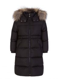 Black Tiam Fur Hooded Long Coat