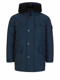 Junior Navy Genuine Down Hooded Jacket