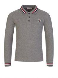 Grey Long-Sleeve Tipped Collar Polo Shirt