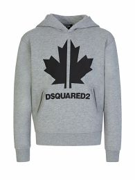 Kids Grey Cool-Fit Maple Leaf Logo Hoodie