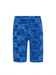 Kids Blue Allover Logo Print Shorts