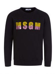 Kids Black Sequin Logo Sweatshirt