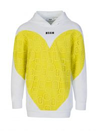 Kids White/Yellow Fleece & Lace Heart Hoodie