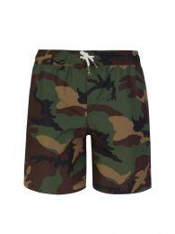 Kids Green Camo-Print Traveler Swim Shorts