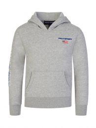 Kids Grey Polo Sport Logo Fleece Hoodie